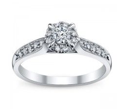 0.5 Carat Round Cut  Classic Halo Engagement Ring 10K White Gold