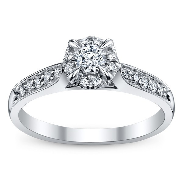 05 carat round cut classic halo engagement ring 10k white gold - 10k Wedding Ring