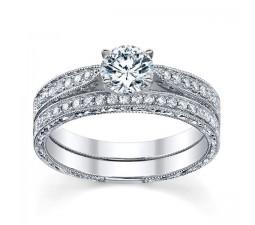 1 Carat Round Cut  Vintage Diamond Bridal Set 10K White Gold