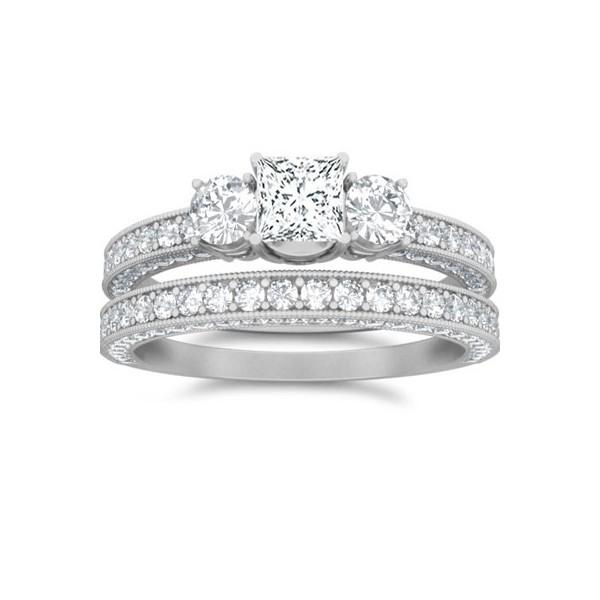 Three Stone Diamond Wedding Ring Set Jeenjewels
