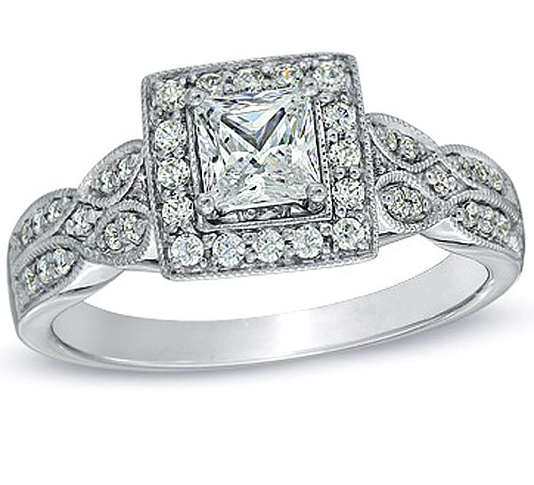 1 Carat Princess cut Twin Row Halo Engagement Ring 10K White Gold.  Glamorous Vintage Antique Halo Cheap ...