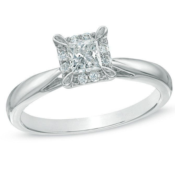 Inexpensive Princess Halo Diamond Engagement Ring JeenJewels
