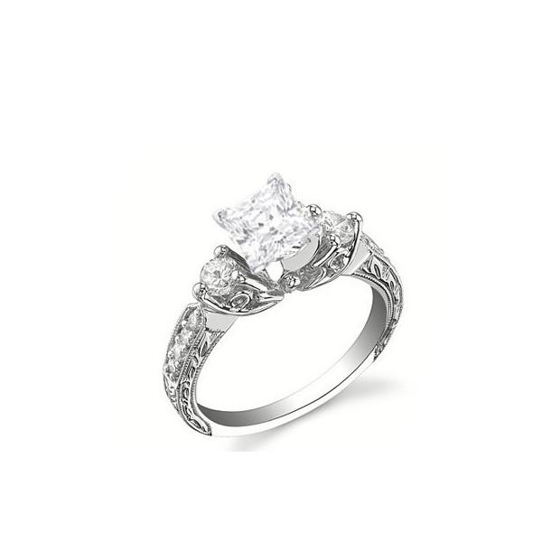 Antique Style Stunning Princess Cut Diamond Engagement