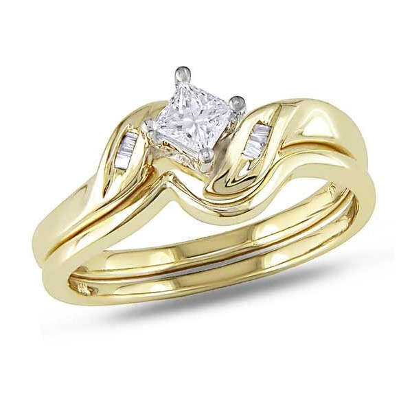 closeout sale on princess and baguette wedding ring set - Wedding Ring For Sale