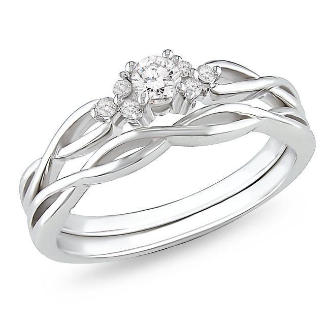 Affordable Diamond Infinity Wedding Ring Set In 10k White