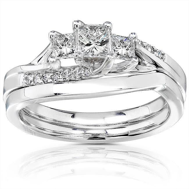 Three Stone Princess Wedding Ring Set for Her JeenJewels