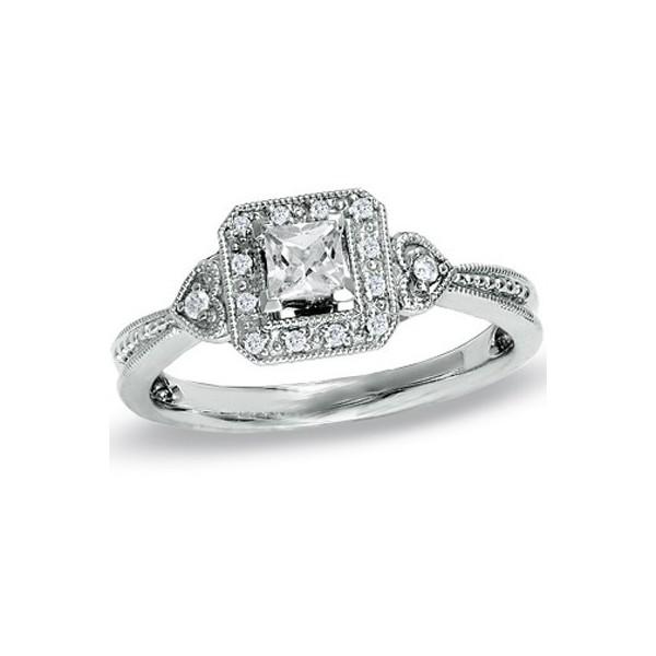Vintage Half Carat Princess Diamond Engagement Ring On
