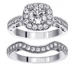 1 Carat Antique Round Engraved Wedding Ring Set in White Gold