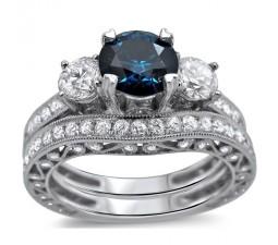 Bestselling Antique Sapphire and Diamond Designer Wedding Ring Set