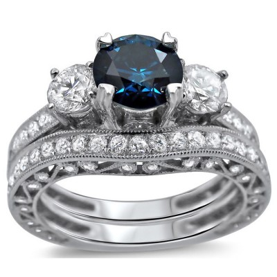 bestselling antique sapphire and diamond designer wedding ring set jeenjewels