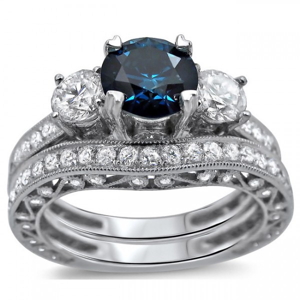 Sapphire Wedding Ring Sets Antique Sapphire And Diamond Designer Wedding Ring Set JeenJewels