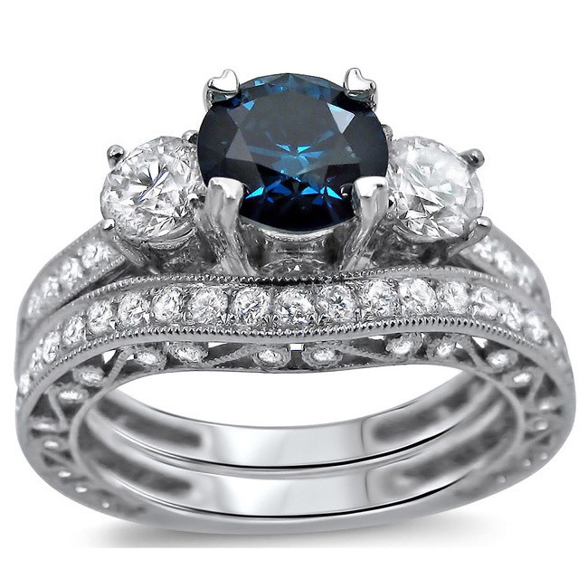 Bestselling Antique Sapphire and Diamond Designer Wedding Ring Set