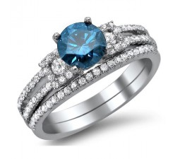 Perfect 1.50 Carat Sapphire and Diamond Bridal Set for Women