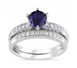 Inexpensive 1 Carat Sapphire and Diamond Wedding Set for Her