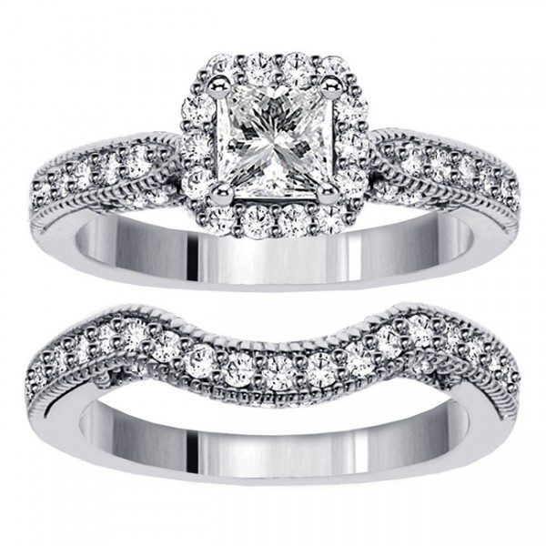 vintage princess cut diamond wedding ring set for women jeenjewels