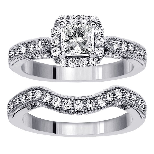 1 Carat Vintage Princess Cut Diamond Wedding Ring Set For Women