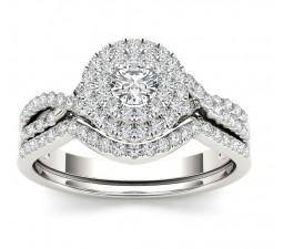1.10 Carat Round Diamond Double Halo Wedding Ring Set for Her