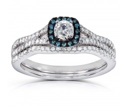 1 Carat Unique Round Diamond and Sapphire Bridal Ring Set in White Gold
