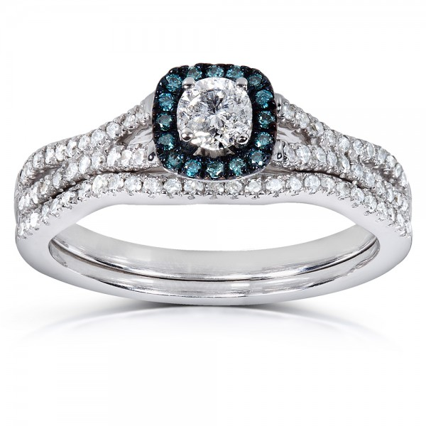 1 carat unique round diamond and sapphire bridal ring set. Black Bedroom Furniture Sets. Home Design Ideas