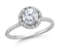 1 Carat Round Diamond Engagement Ring in 14k White Gold
