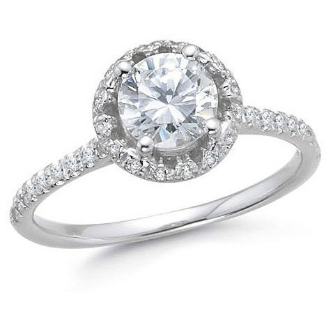 Carat round diamond engagement ring in 14k white gold jeenjewels