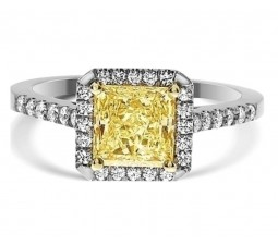 1 Carat Light Fancy Yellow Halo Engagement Ring in 14k White Gold