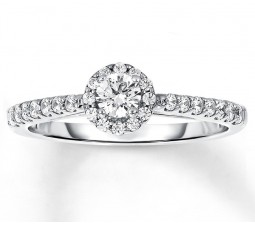 Affordable Half Carat Round Halo Diamond Engagement Ring in White Gold