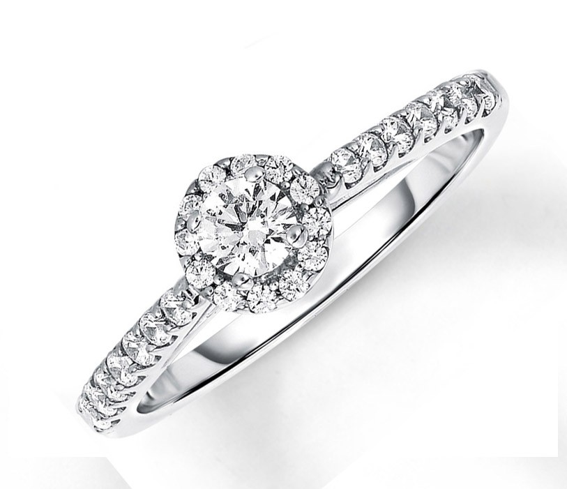 Affordable Half Carat Round Halo Diamond Engagement Ring