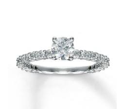 1 Carat Round Diamond Eternity Engagement Ring in White Gold
