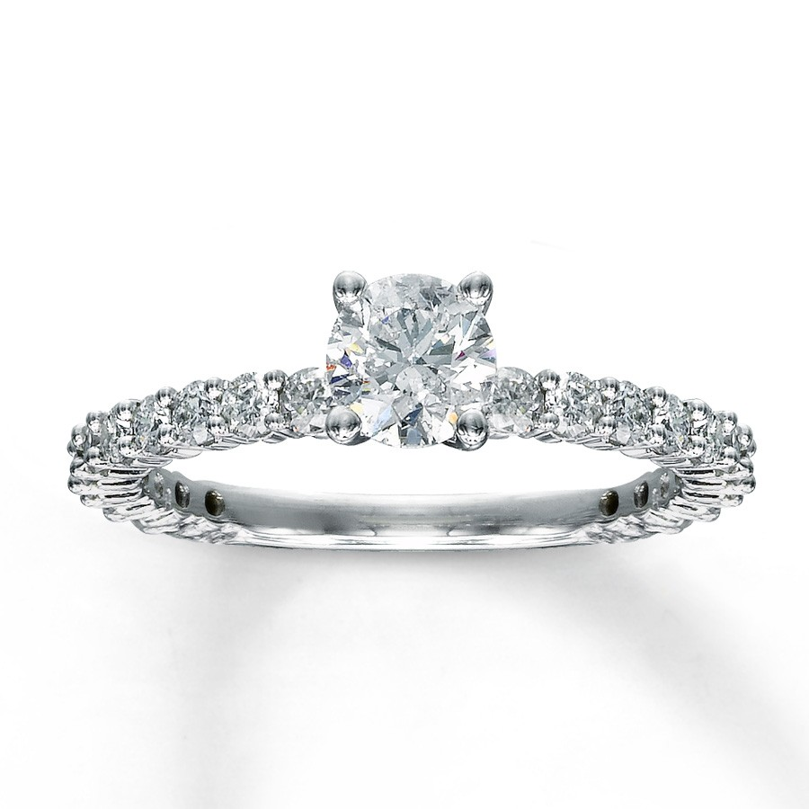 Carat round diamond eternity engagement ring in white gold