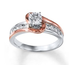 1 Carat Unique Round Two Tone White and Rose Gold Engagement Ring