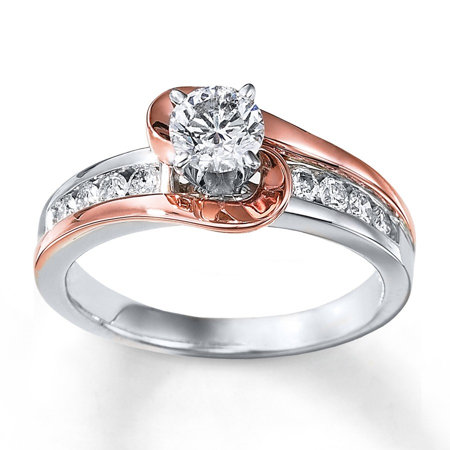 Gold And White Gold Wedding Rings 1 Carat Unique Round Two Tone White And Rose Gold