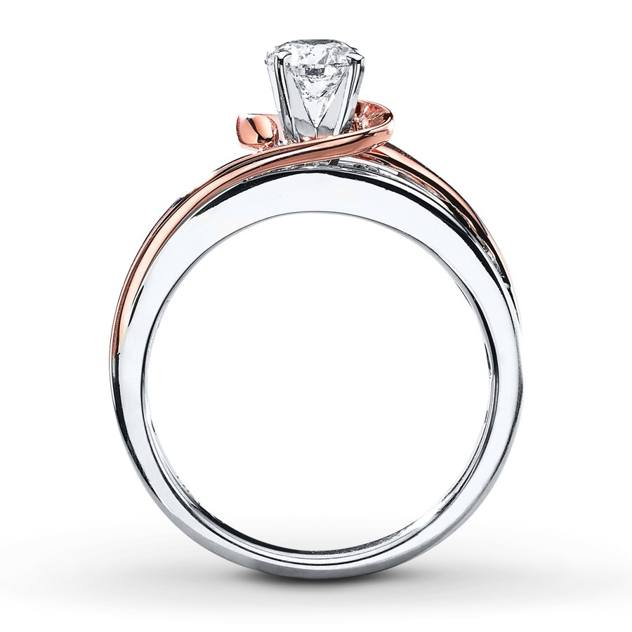 1 Carat Unique Round Two Tone White and Rose Gold Engagement Ring JeenJewels