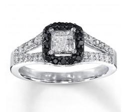 1 Carat Beautiful Princess Halo White and Black Diamond Engagement Ring