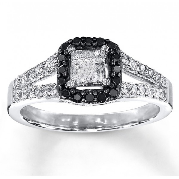 1 Carat Beautiful Princess Halo White and Black Diamond Engagement Ring Jee