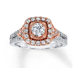 Designer Round Diamond Engagement Ring in White and Rose Gold