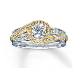 Designer White and Yellow Gold Round Diamond Engagemen Wedding Ring