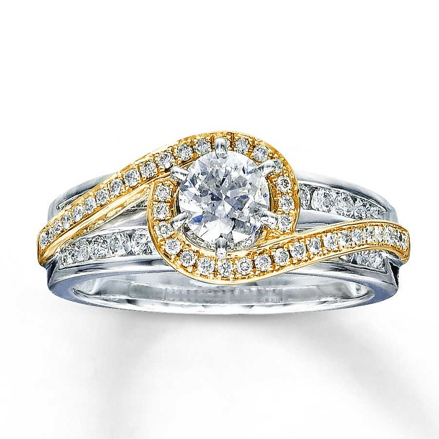 Designer White and Yellow Gold Round Diamond Engagement ...