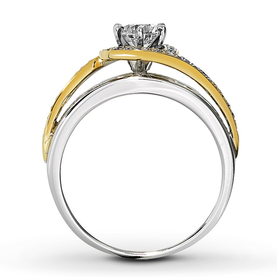 Designer white and yellow gold round diamond engagement for White gold engagement ring with yellow gold wedding band