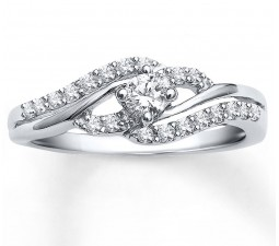 Perfect Half Carat Round Diamond Engagement Ring for Women in White Gold