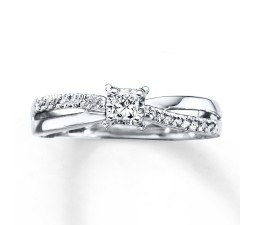 Inexpensive Princess and Round Diamond Ring for Her