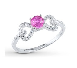 Unique Half Carat Pink Sapphire and Diamond Engagement Ring in White Gold