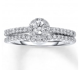Halo 1 Carat Round Halo Diamond Wedding Ring Set in White Gold