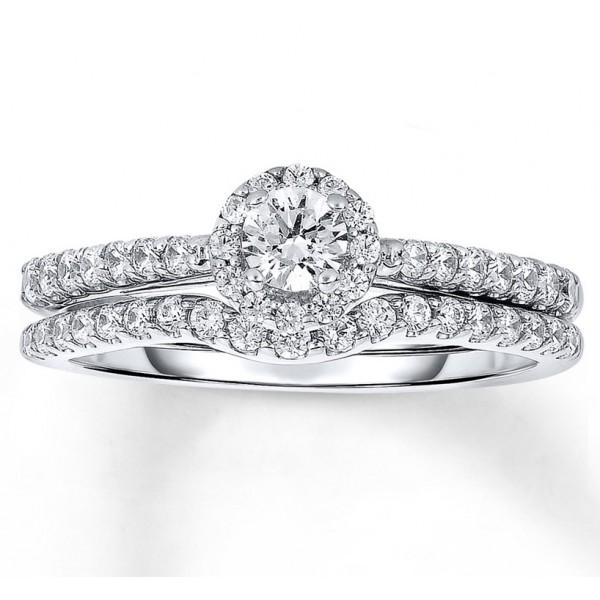 Halo 1 Carat Round Halo Diamond Wedding Ring Set in White Gold
