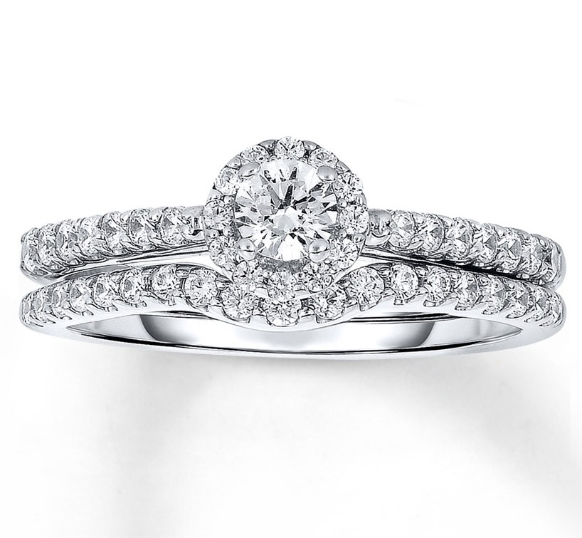 halo 1 carat round halo diamond wedding ring set in white gold - Halo Wedding Ring Set
