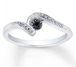 Perfect Black and White Diamond Engagement Ring in White Gold