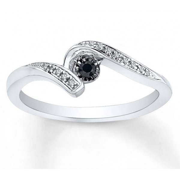 perfect black and white diamond engagement ring in white
