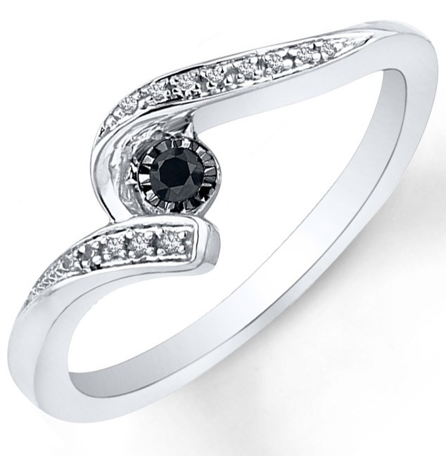 Perfect Black and White Diamond Engagement Ring in White Gold JeenJewels