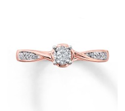 Inexpensive Round Diamond Engagement Ring for Her in Rose Gold