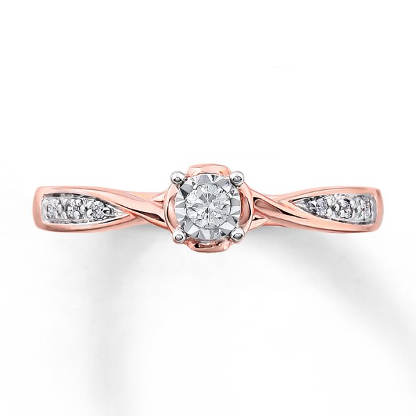 Inexpensive Round Diamond Engagement Ring for Her in Rose Gold JeenJewels